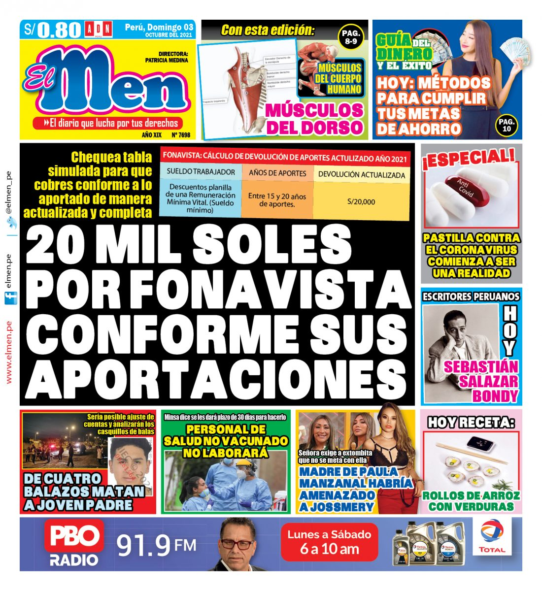 Portada impresa – Diario El Men (03/10/2021)