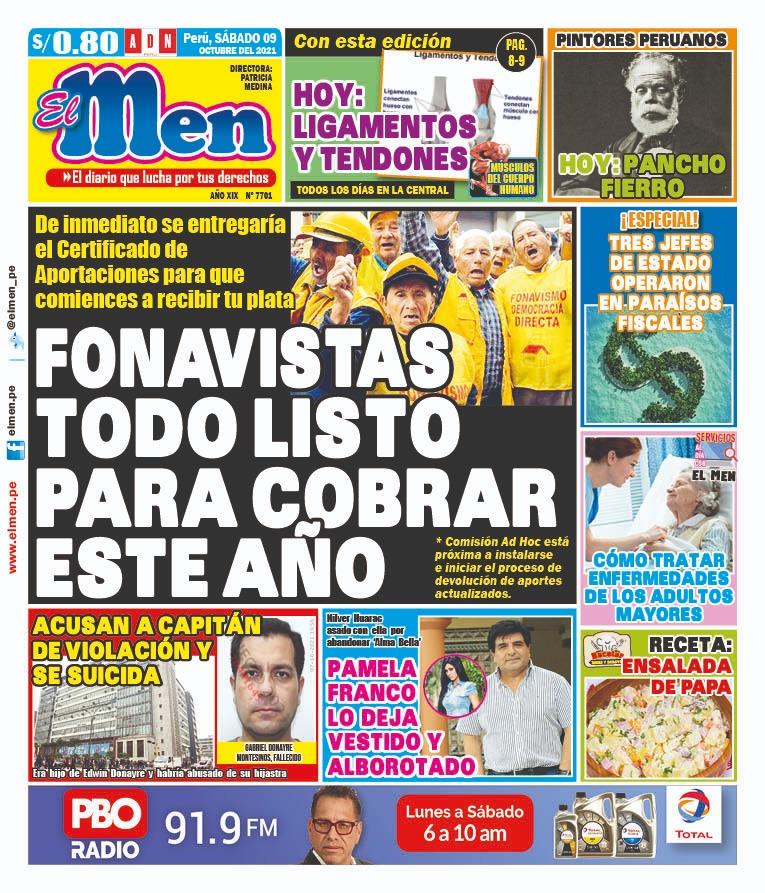 Portada impresa – Diario El Men (09/10/2021)