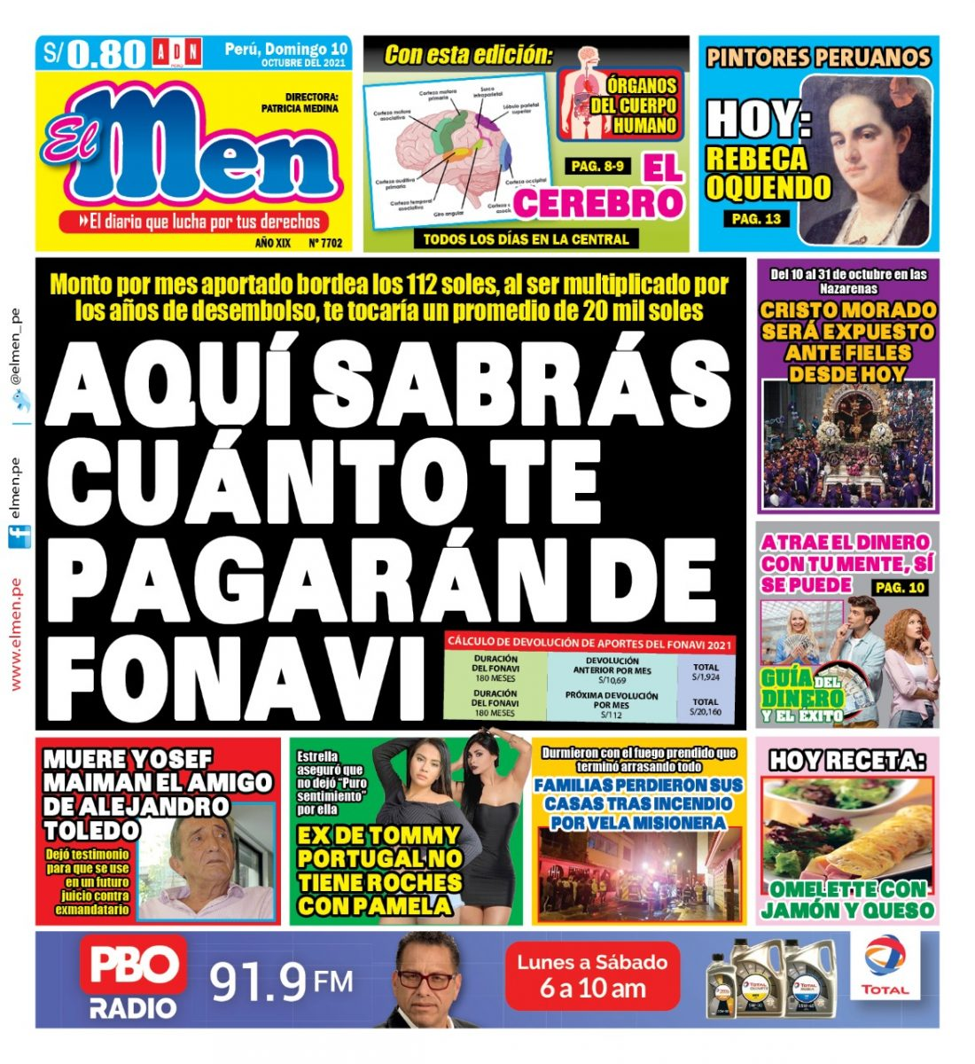 Portada impresa – Diario El Men (10/10/2021)