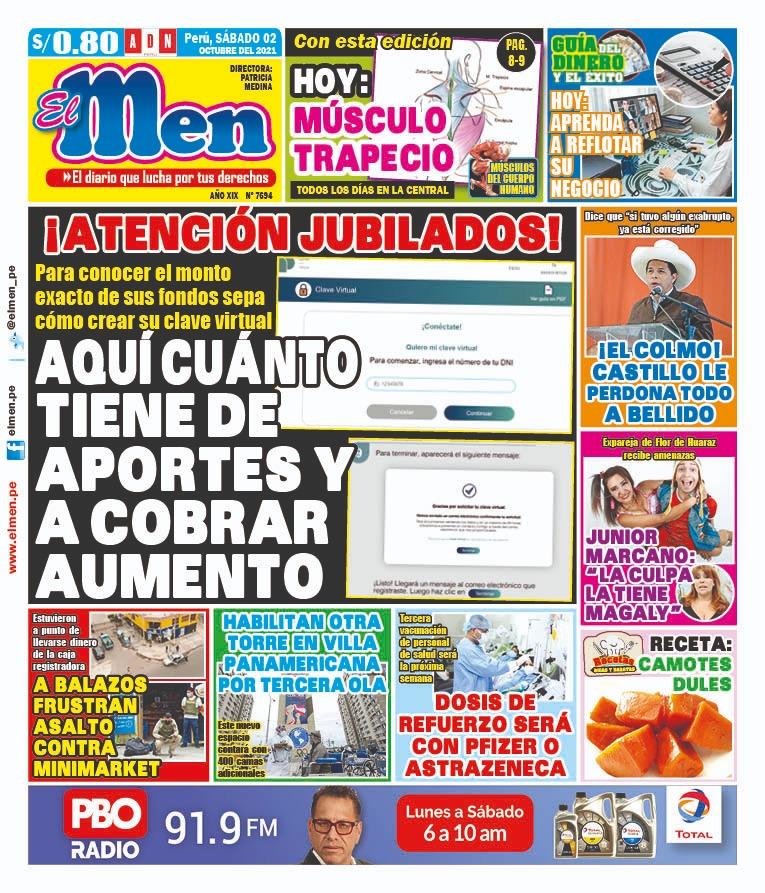 Portada impresa – Diario El Men (02/10/2021)