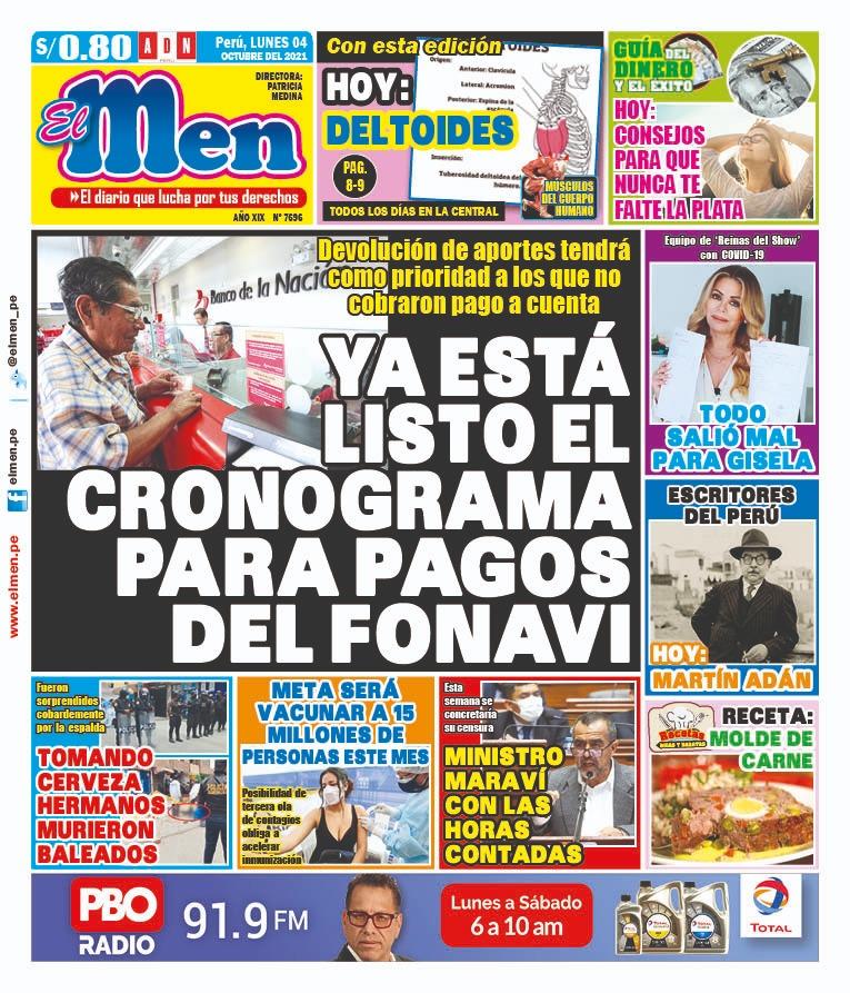 Portada impresa – Diario El Men (04/10/2021)