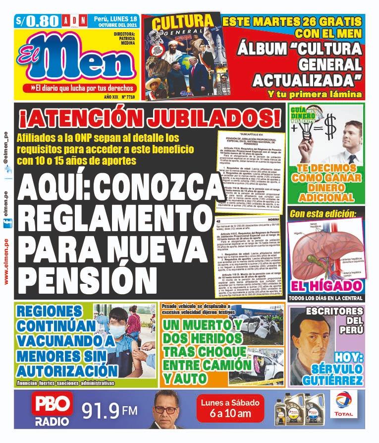 Portada impresa – Diario El Men (18/10/2021)