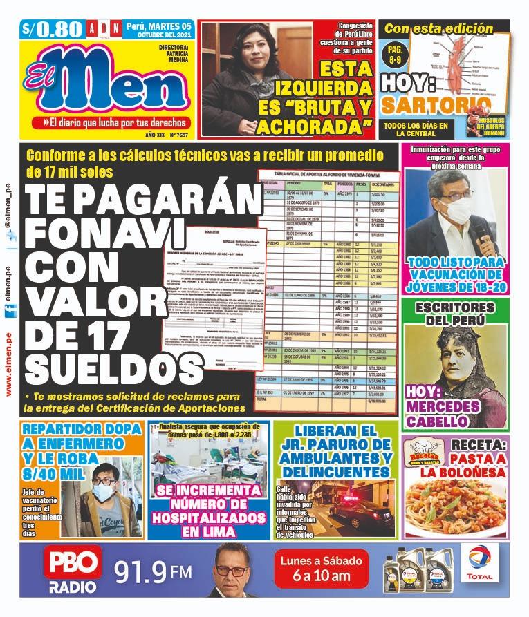 Portada impresa – Diario El Men (05/10/2021)