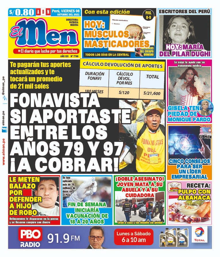 Portada impresa – Diario El Men (08/10/2021)