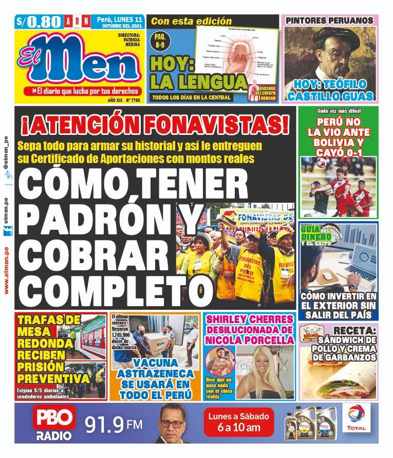 Portada impresa – Diario El Men (11/10/2021)