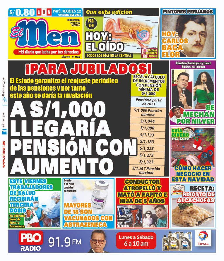 Portada impresa – Diario El Men (12/10/2021)