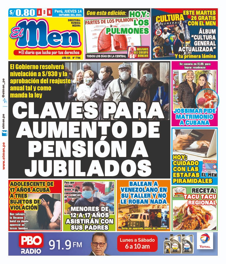 Portada impresa – Diario El Men (14/10/2021)