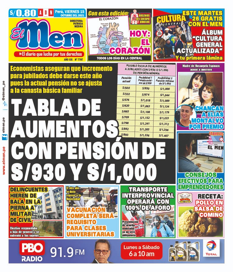 Portada impresa – Diario El Men (15/10/2021)