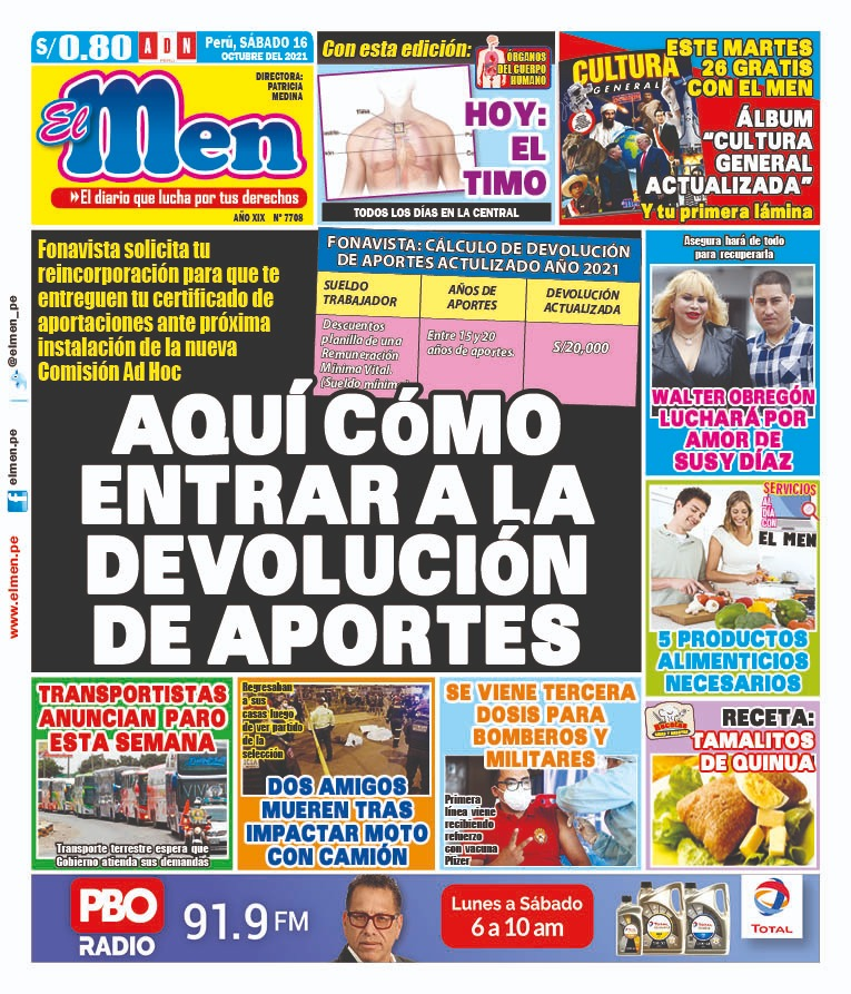 Portada impresa – Diario El Men (16/10/2021)