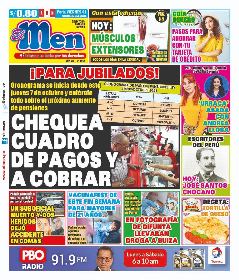 Portada impresa – Diario El Men (01/10/2021)